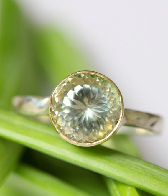 Green Amethyst Sterling Silver and 14K Gold Ring, Gemstone Ring, Stacking Ring, Portuguese Cut - Made To Order