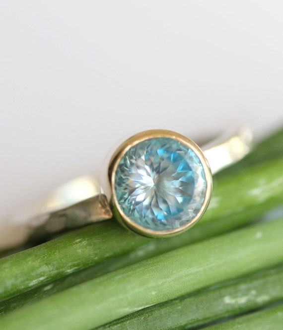 Swiss Blue Topaz Sterling Silver and 14K Gold Ring, Portuguese Cut Ring, Stacking Ring, Gemstone Ring - Made to Order