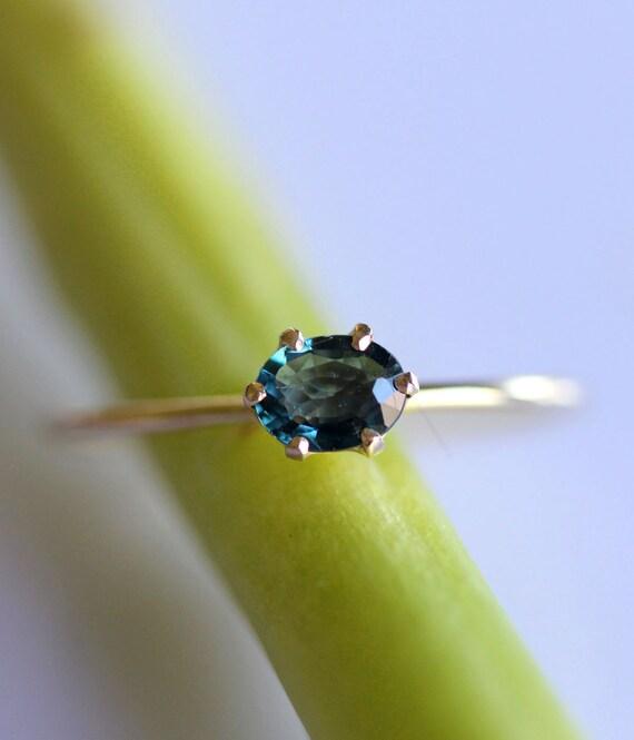 Blue Princess - Blue Sapphire 14K Gold RIng, Gemstone Ring, Stacking Ring - Made To Order