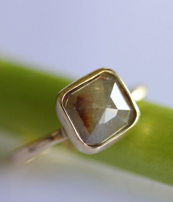 Rose Cut Greenish Gray Diamond In 14K Gold Ring - Ready To Ship