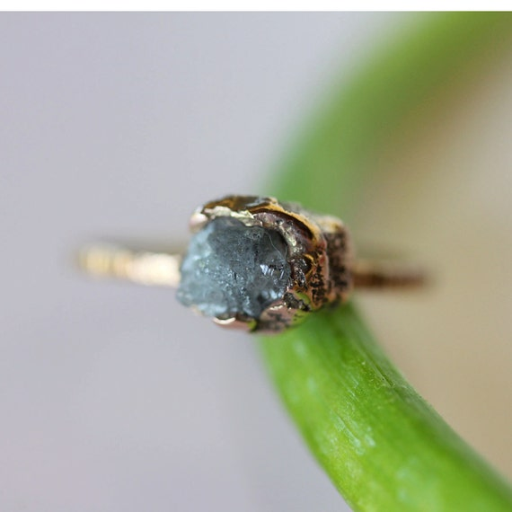 Rough Diamond In 14K Recycled Gold Nugget Ring - Ready To Ship