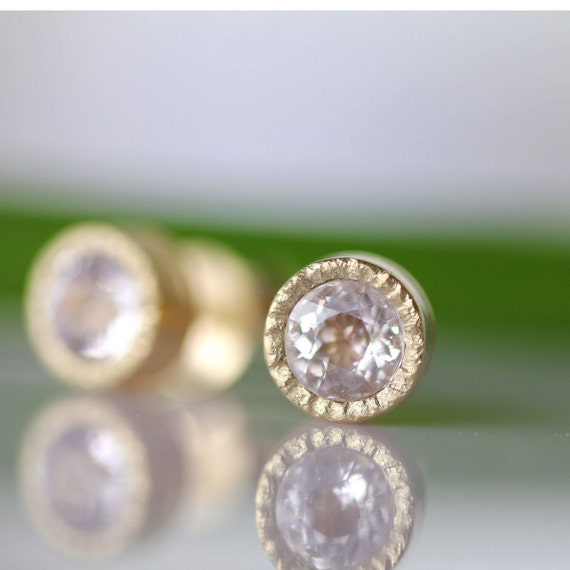 Morganite Milgrain Earrings In 14K Yellow Gold - Ready To Ship