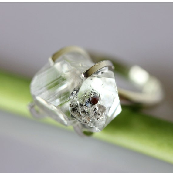Herkimer Diamond Recycled Tarnish Resistant Silver Cocktail Ring 3 - Ready To Ship