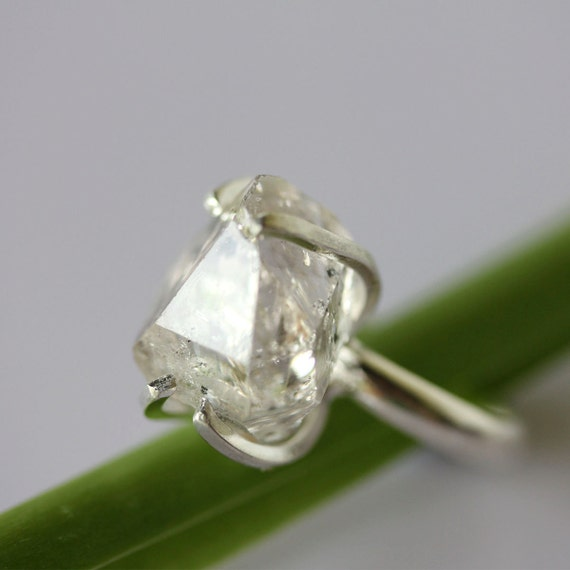 Herkimer Diamond Recycled Tarnish Resistant Silver Cocktail Ring 2 - Ready To Ship