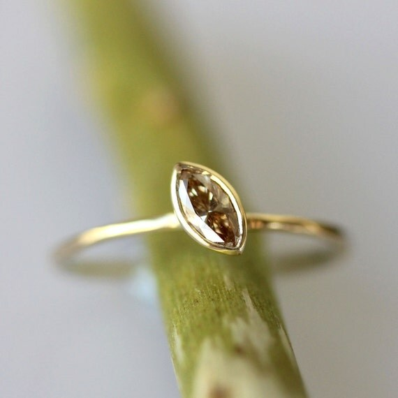 Translucent Champagne Marquise Diamond In 14K Gold Ring - Ready To Ship
