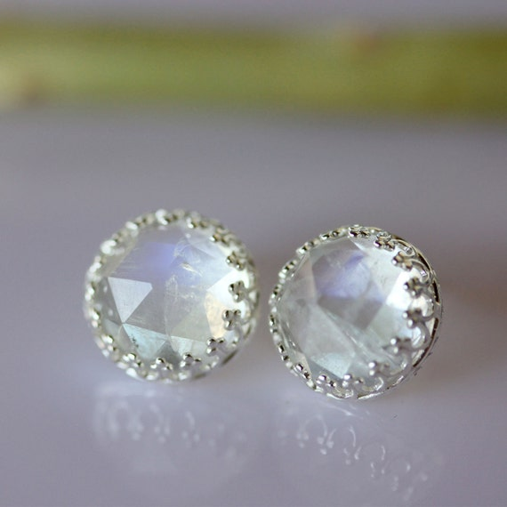 Rose Cut Rainbow Moonstone Earrings - Ready to Ship
