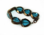 Electric Teal Copper Plated Heart Bracelet