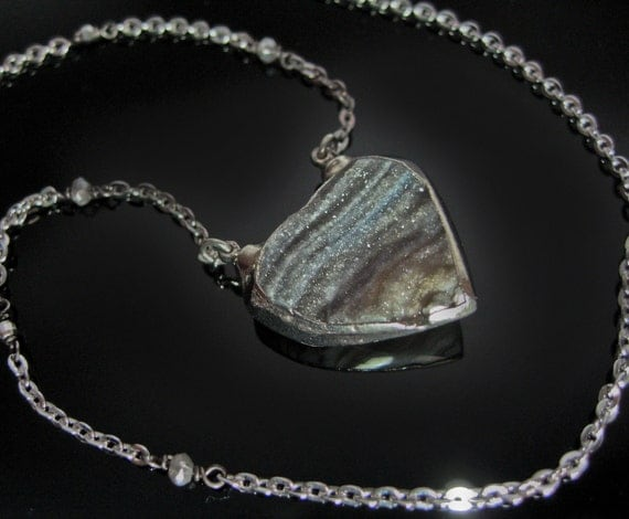 Labradorite Silver Druzy Heart Necklace