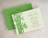 Wedding invitations, bamboo destination wedding invites, tropical, wedding stationery, apple green, lime green, honeydew, brown, Asia