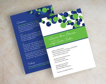 Blue and green wedding invitations, polka dot wedding stationery, polka dots in royal blue, white and lime green, free shipping, Kendall