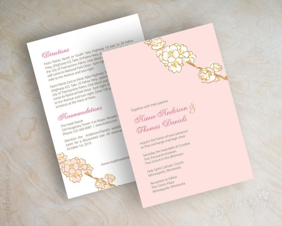 Wedding invitations, watercolor cherry tree blossoms in soft, blush pink and white