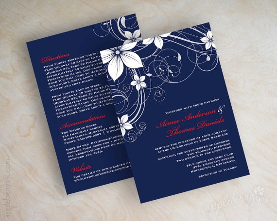 Red White And Blue Wedding Invitations: Items Similar To Swirly Floral Vine Wedding Invitation