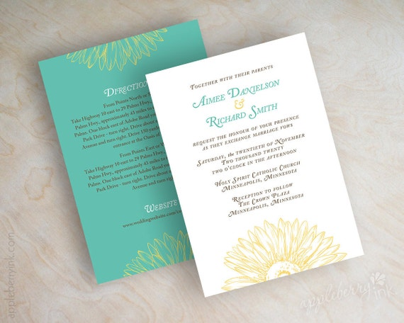 Turquoise And Brown Wedding Invitations: Wedding Invitations Gerbera Daisy Sketch Wedding By