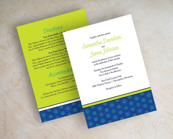 Royal Blue And Lime Green Wedding Invitations: Unavailable Listing On Etsy
