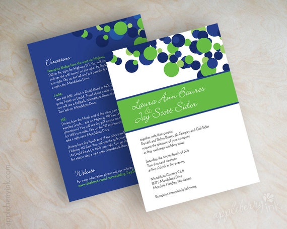 Blue and green wedding invitations, polka dot wedding stationery, polka dots in royal blue, white and lime green, free shipping, Kendall