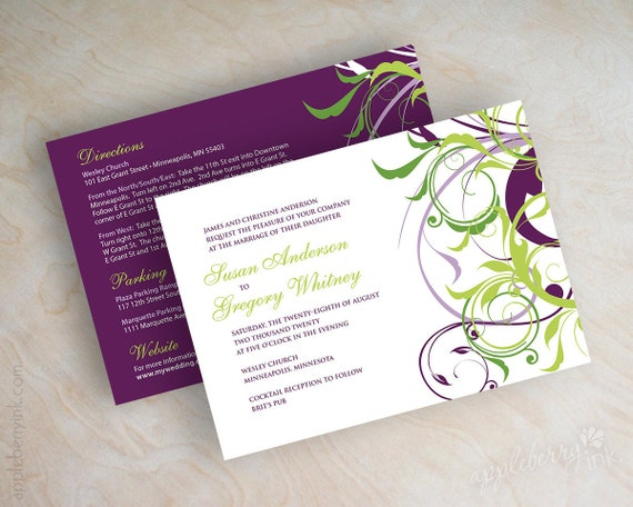 White And Green Wedding Invitations: Items Similar To Wedding Invitations, Swirly Vine Wedding