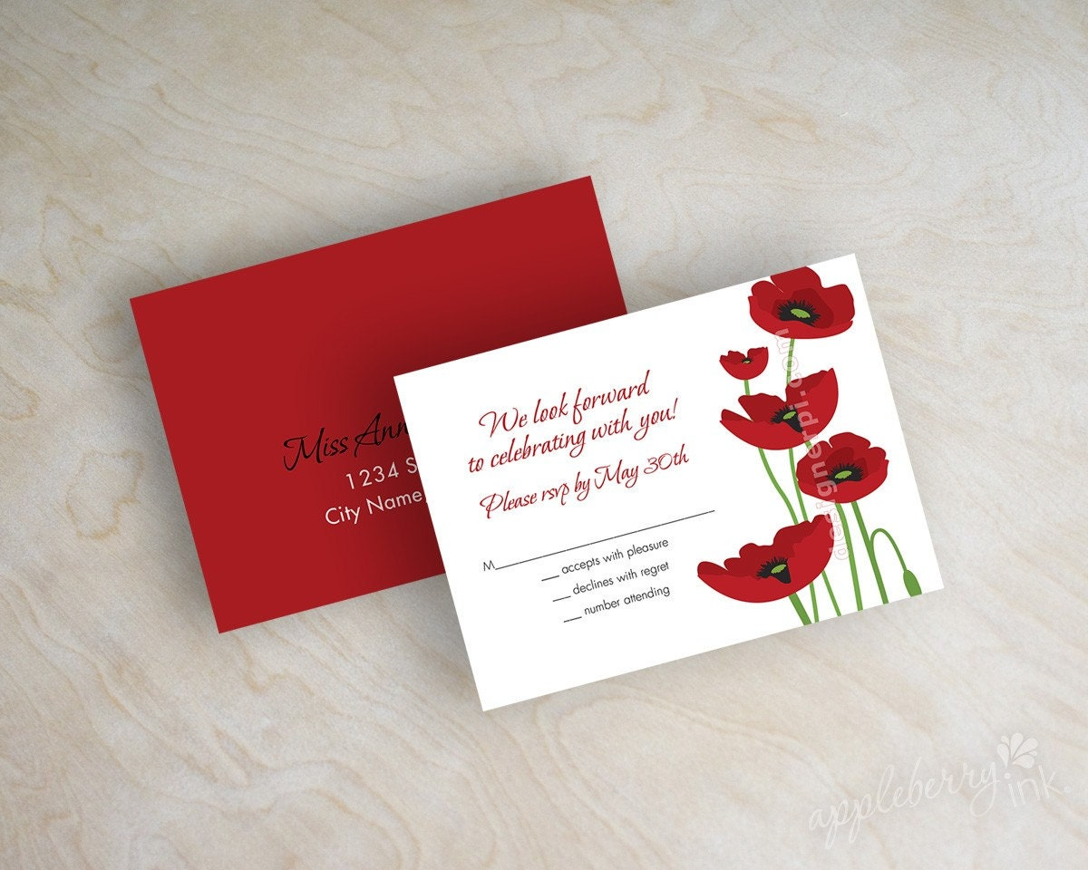 poppy seed wedding invitations - 28 images - printable poppy floral ...