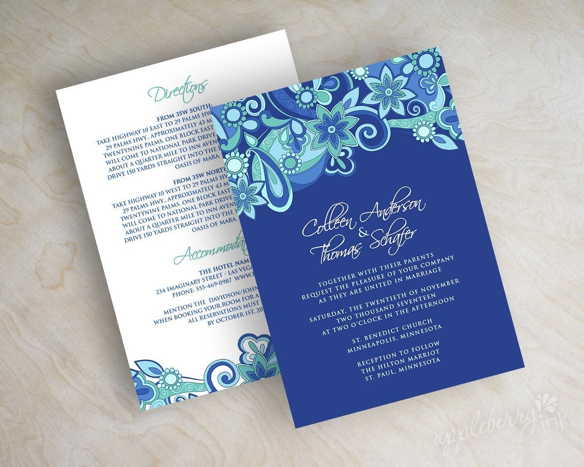 Royal Blue Wedding Invitation Cards: Paisley Wedding Invitation Paisley Wedding Invite Paisley