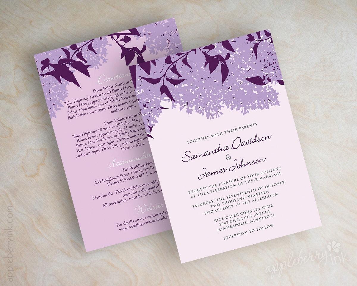 lilac wedding invitations lilac wedding stationery purple