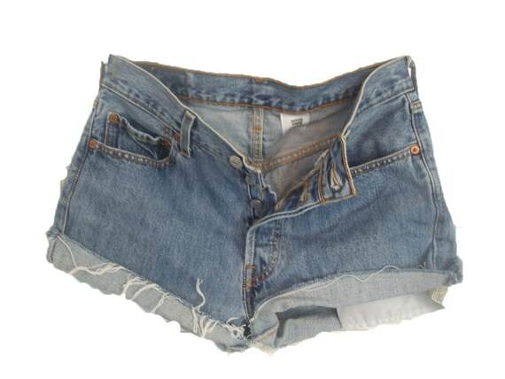 Vintage Levi's 501 High Waist, Cut Off Shorts, buttonfly, distressed, frayed sz 30/M