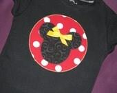 Minnie Applique Tee or Onesie - sizes newborn - Girls 8