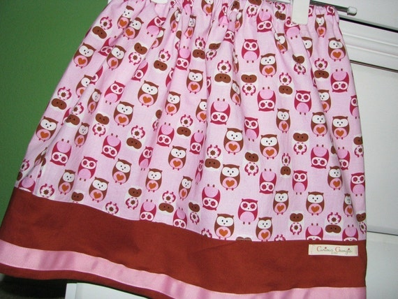 ONLY 1 LEFT - Any Size - What a Hoot Twirl Skirt - sizes newborn - Girls 8