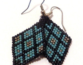 Basketweaving Earrings - Handcrafted Brick-stitch Earrings - turquoise, black, silver
