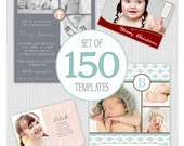150 Photo Card Templates. Bulk Pack 4. Includes Birth Announcements, Christening and Birthday Invitations, Christmas Cards.
