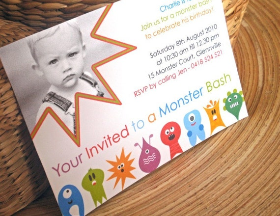 Customized Boys Birthday Party Invitations. Monster Bash Design.