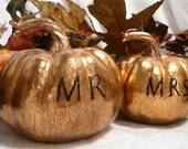 Mr & Mrs - set of two SILVER  pumpkins as your wedding cake topper - RESERVED for Elizabeth