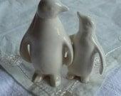 Soft White Ceramic Penguins in Love - CakeTopper