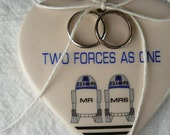 Porcelain Heart Ring Holder - Two Forces As One - R2D2 MR & MRS Couple - something blue