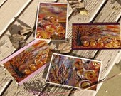 Autumn Art Harvest Greeting Cards - Set of Four 5 x 7 inches each