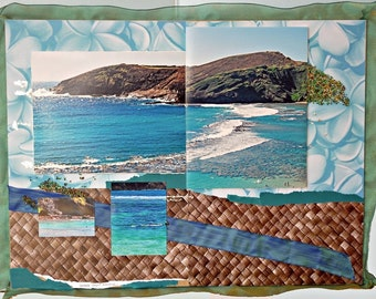SALE! Lauhala with Ribbons of Hawaii Waves Fine Art Scrapboard 24 x 36 inches