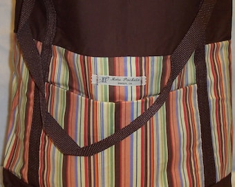 Allyn Tote with Multicolored Stripe center and brown background