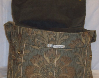 Heather Baby Bag in Green and Gold Tapestry and an army green faux suede lining