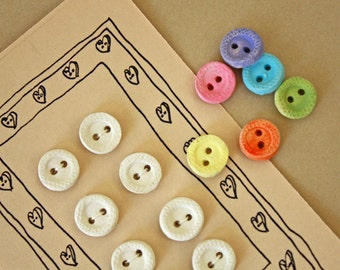 Handmade Buttons - Clay Buttons - Art Buttons - Bisque Buttons - White buttons - Sewing Supplies - Crafting Supplies - Art Supplies