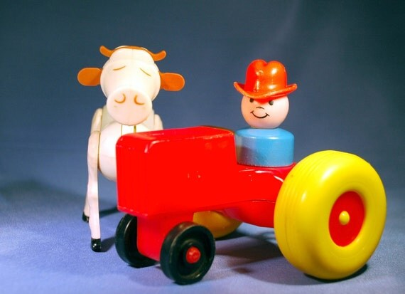 Vintage Fisher Price Little People Blue Wood Farmer with Tractor and White Cow - Take 15% off