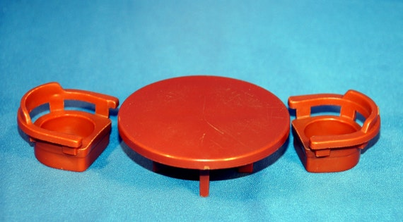 Take 15%off - Vintage Fisher Price Little People Round Brown Table with 2 Matching Chairs