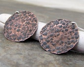 Hammered Copper Earrings Rustic Copper Discs Textured Copper Circle Earrings Boho Copper Hammered Earrings Unique Copper Earrings