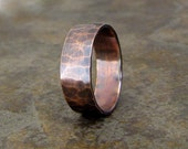 Copper Hammered Ring Wide Oxidized Wedding Band Wedding Ring
