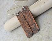 Hammered Copper Earrings Reptile Safari Stick Tab Earrings Rustic Bark Copper Earrings Textured Copper Dangles Rustic Copper Earrings