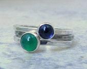 Iolite Ring Silver Green Onyx Ring Stacking Ring Set Gemstone Stacking Rings