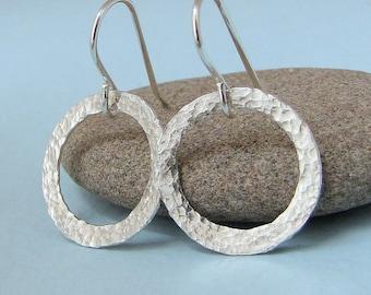 Silver Hoop Earrings Hammered Circle Earrings Tiny Silver Hoops Simple Silver Hoops Everyday Hoop Earrings Mimimalist Jewelry Gift for Her