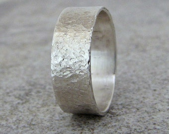 Mens Wedding Band Hammered Silver Wedding Ring Distressed Rustic Wedding Bands Unique Wedding Rings Mens Jewelry by SilverSmack Gift for Him