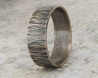 Mens Wedding Ring Bark Wedding Band Woodgrain Silver Ring Hammered Wedding Ring Unique Wedding Bands Rustic Wedding Rings Gift for Him, Her