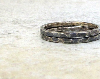 Stacking Rings Silver Stacking Rings Hammered Silver Rings Rustic Rings