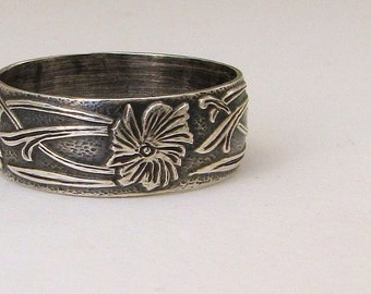Antique Wedding Ring Silver Floral Pattern Ring Wedding Band Victorian Wedding Bands Renaissance Wedding Ring by SilverSmack