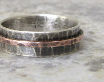 Silver Spinner Ring Copper Hammered Mens Wedding Ring Wedding Band Fidget Ring Rustic Wedding Rings Unique Wedding Bands by SilverSmack
