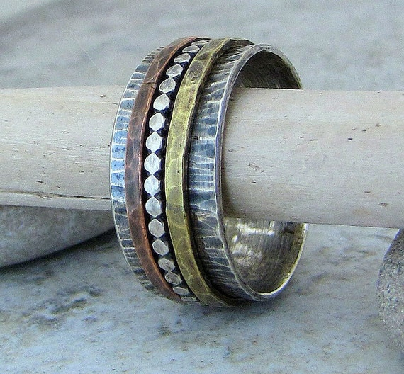 Silver Copper Brass Spinner Ring Hammered Antiqued Wide Band Rustic Wedding Bands Unique Wedding Rings Boho Multi-metal Spinner Rings Gift